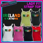 LADIES WOMENS LADY FIT STRAP TOP TSHIRT IRELAND 6 NATIONS RUGBY